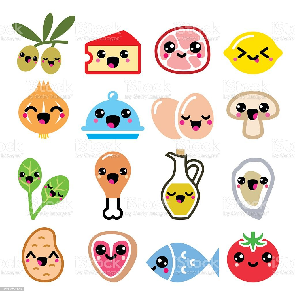 Kawaii Cute Food Characters Meat Vegetables Diary Icons