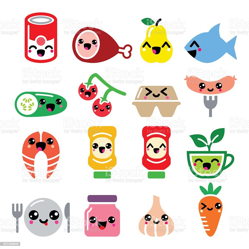 Kawaii cute food characters - meat, vegetables, fruit icons set vector art illustration