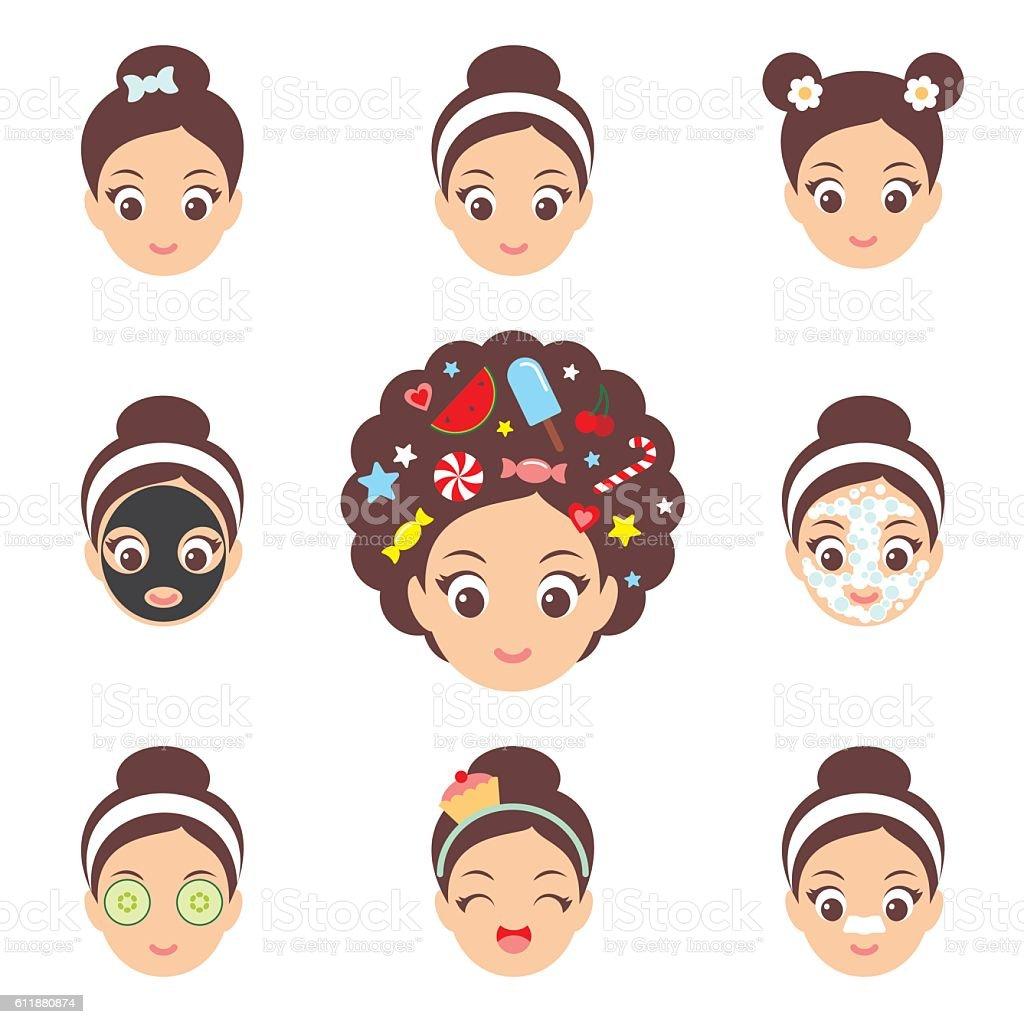 Kawaii cute girl face icons vector art illustration