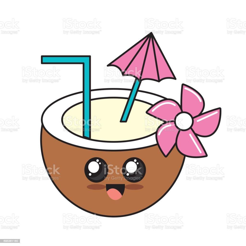 Kawaii Cute Happy Coconut Water Stock Vector Art 695361180