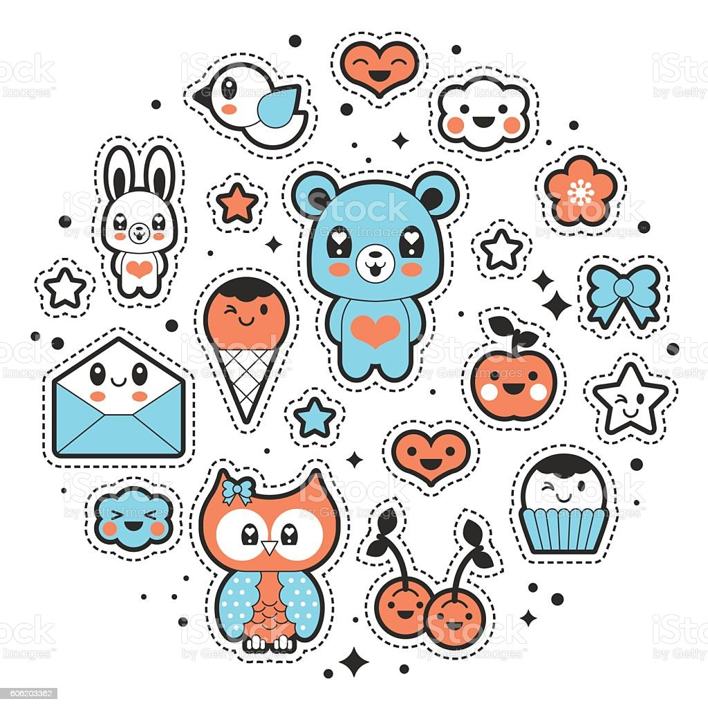 Kawaii fashion chic patches, pins, badges and stickers design set vector art illustration