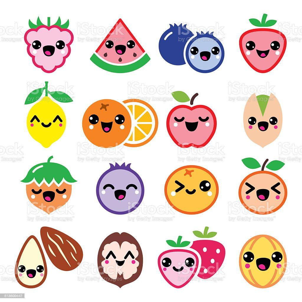 Kawaii fruit and nuts cute characters design vector art illustration
