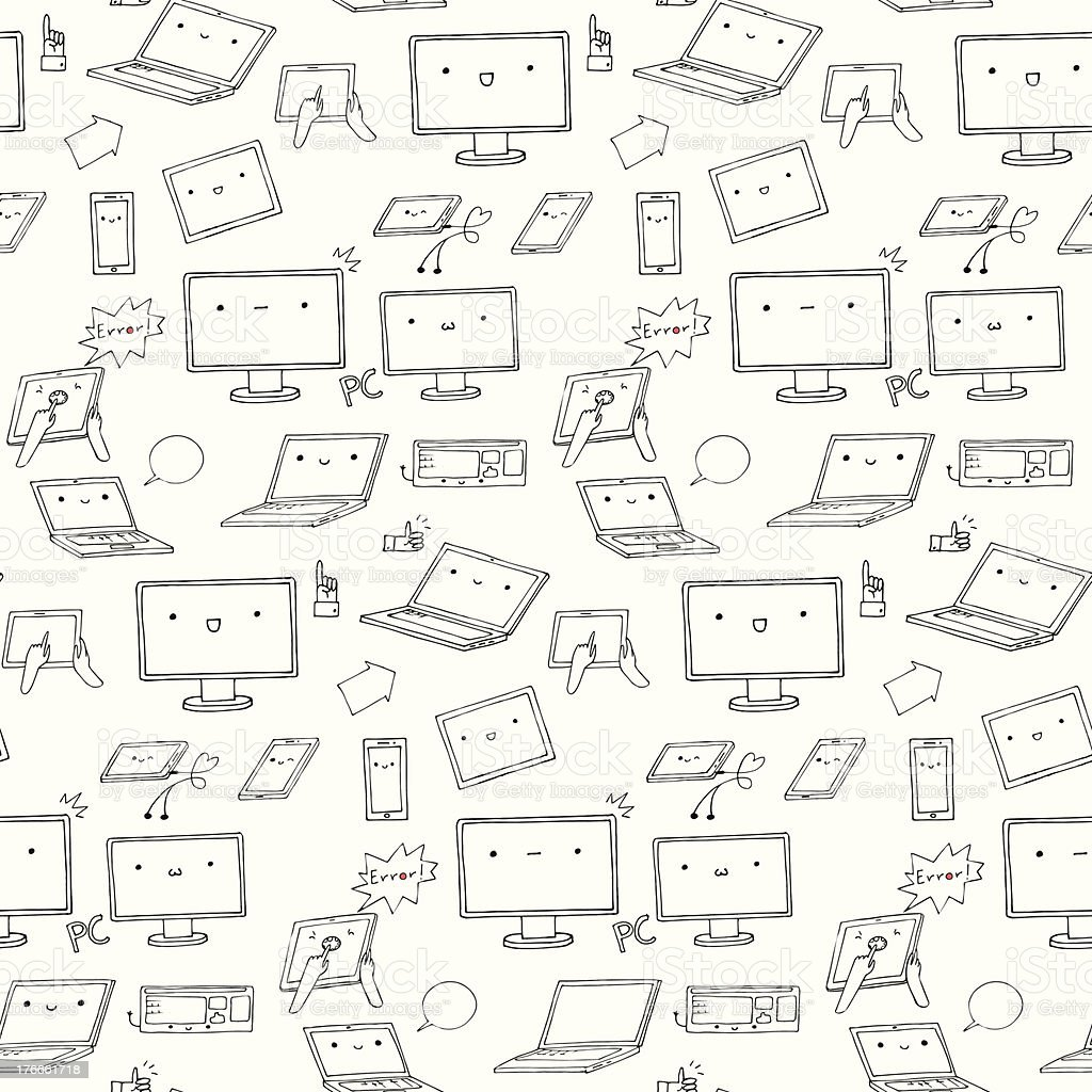 kawaii gadgets seamless pattern royalty-free stock vector art