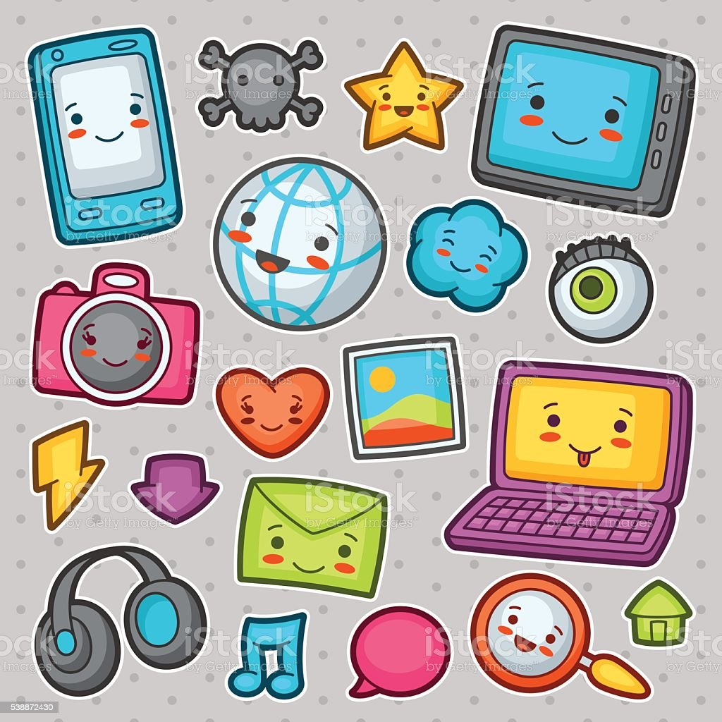 Kawaii gadgets social network items. Doodles with pretty facial expression vector art illustration