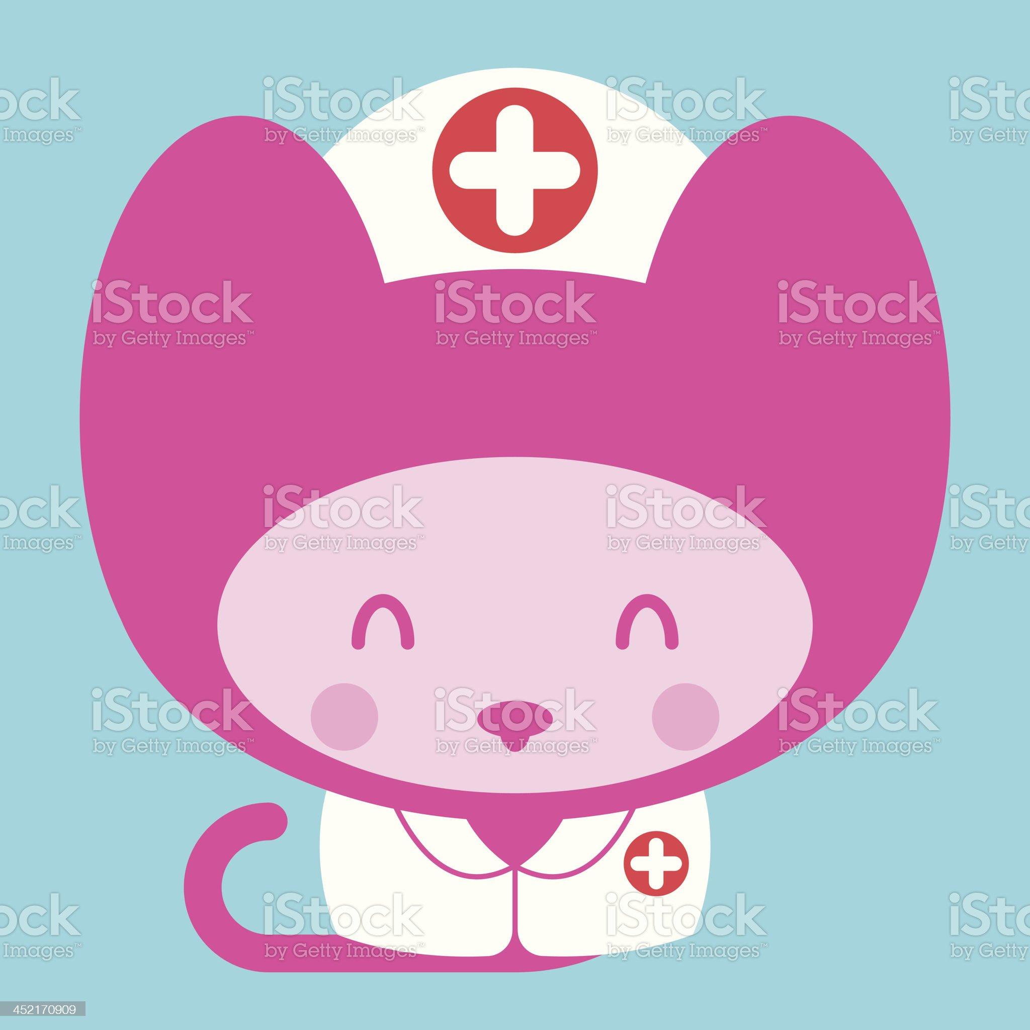 Kawaii little pink girl cat nurse doctor royalty-free stock vector art