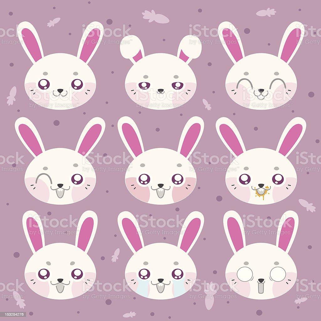 Kawaii smiley bunny royalty-free stock vector art