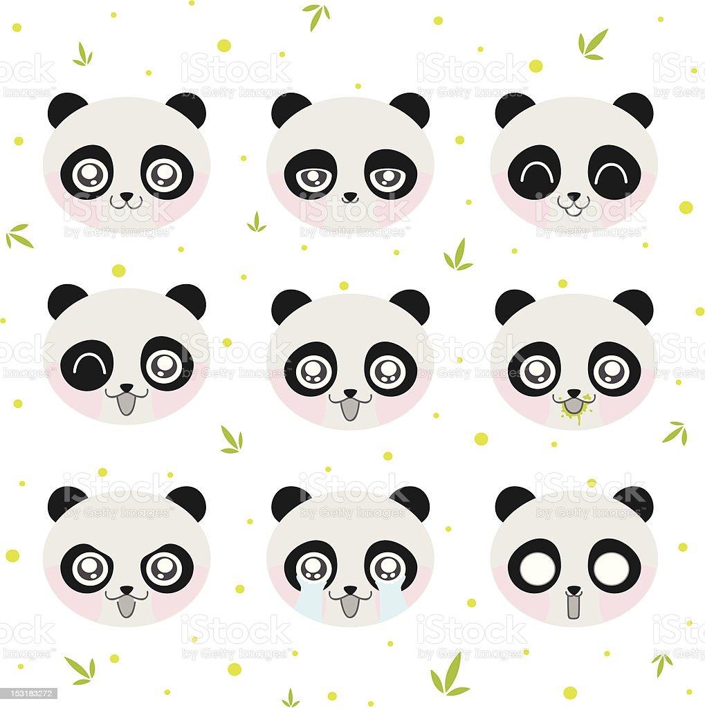 Kawaii smiley panda royalty-free stock vector art