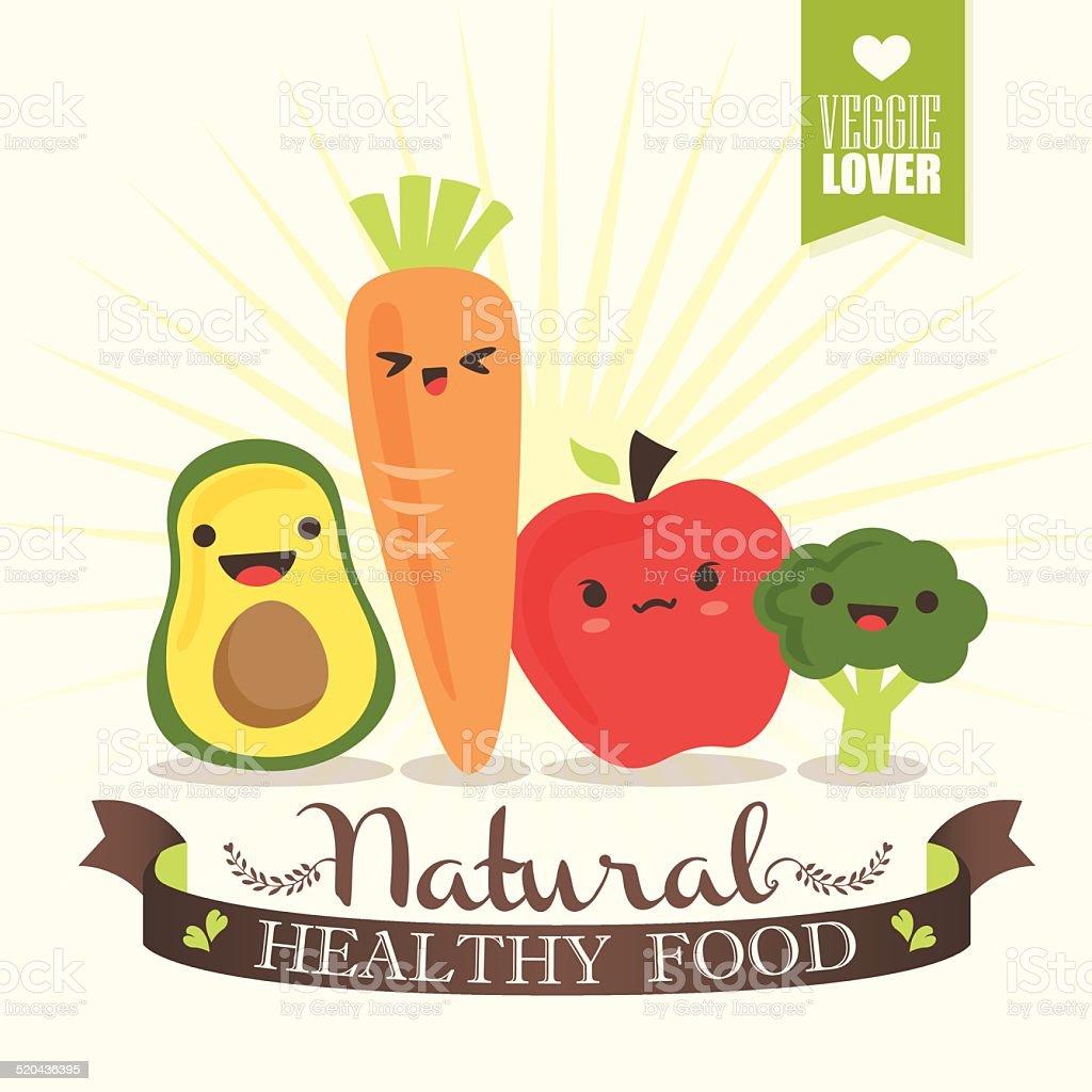 Kawaii Vegetable cartoon characters illustration vector art illustration