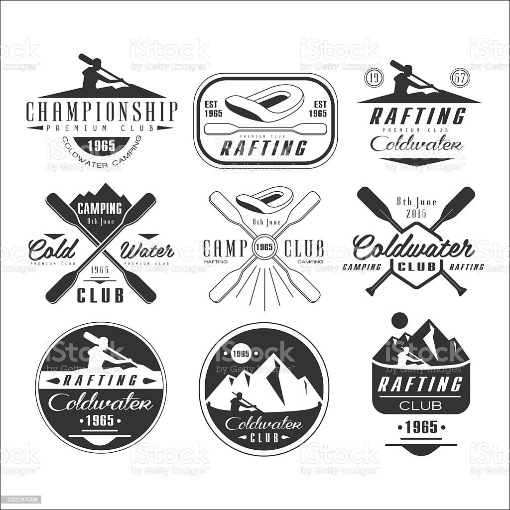 Kayak and canoe emblems, badges, design elements vector art illustration