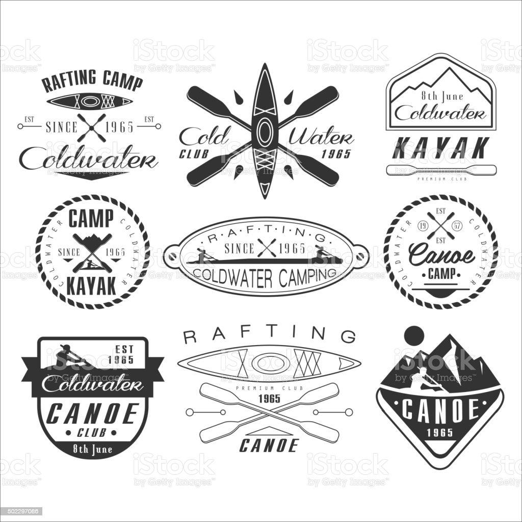 Kayak and canoe emblems, badges, design elements vector art illustration