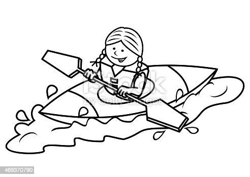 Kayak And Girl Coloring stock vector art 469370790   iStock