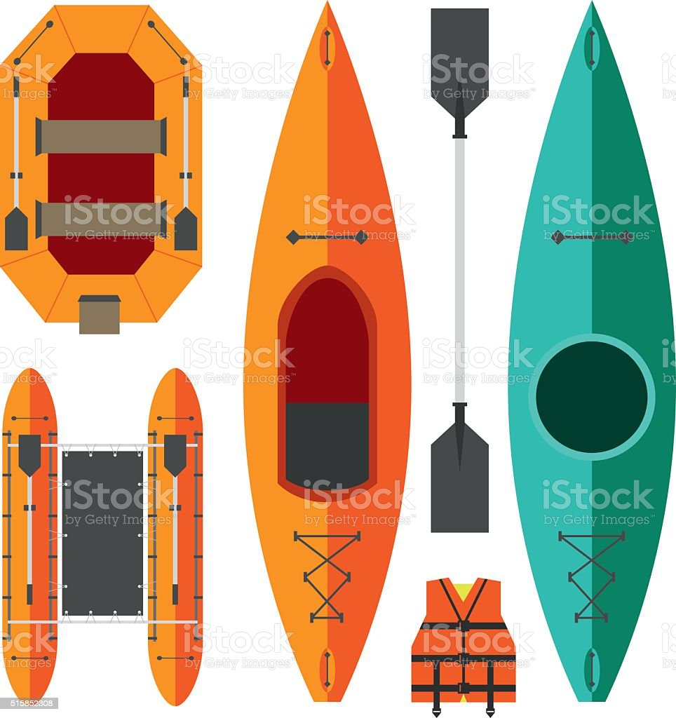 Kayak and raft boats vector art illustration