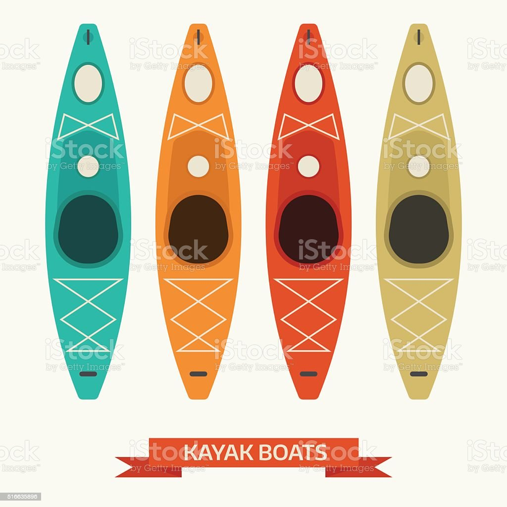 Kayak Boats Vector Colorful Icons vector art illustration