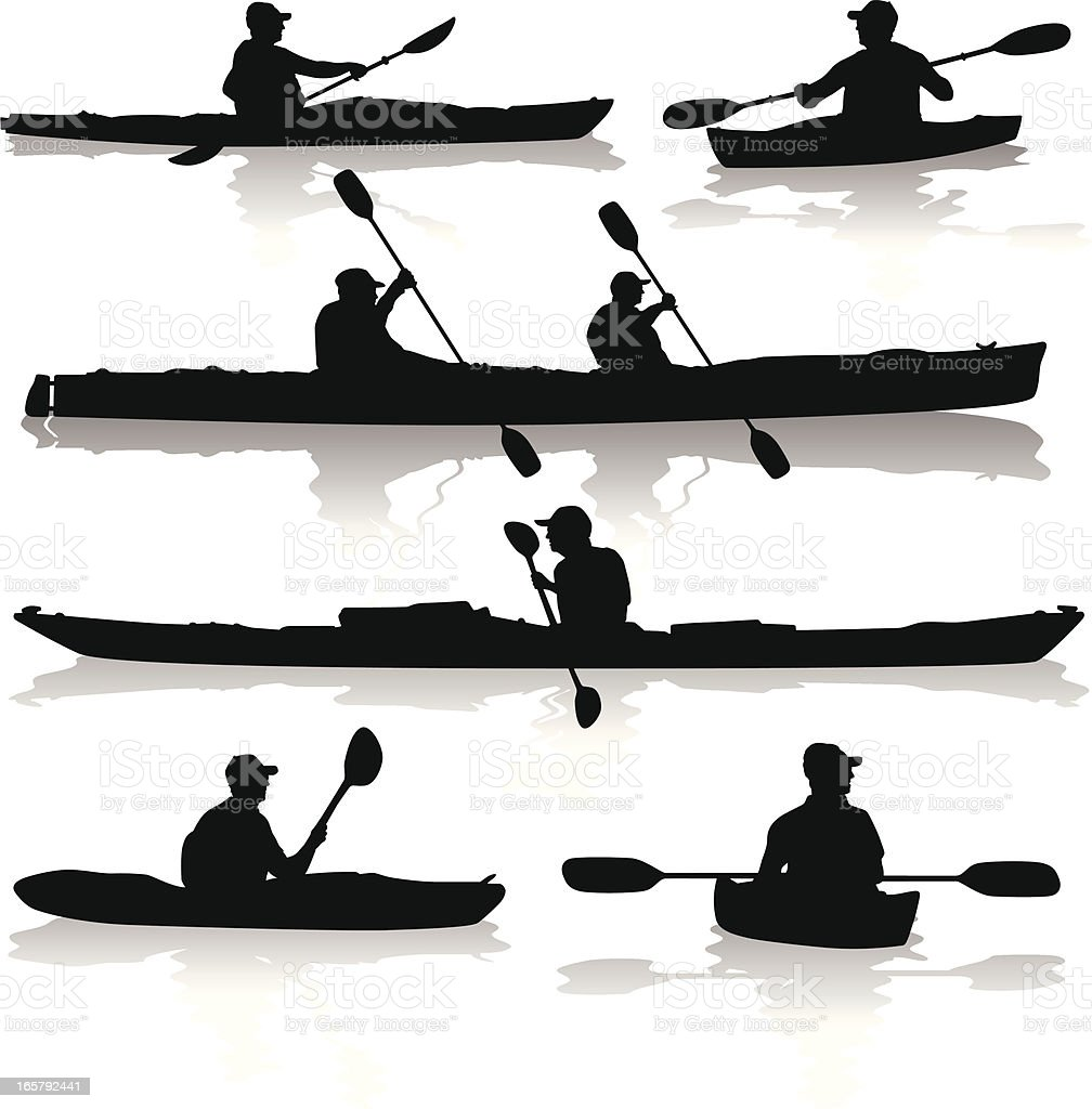 Kayak Silhouettes vector art illustration