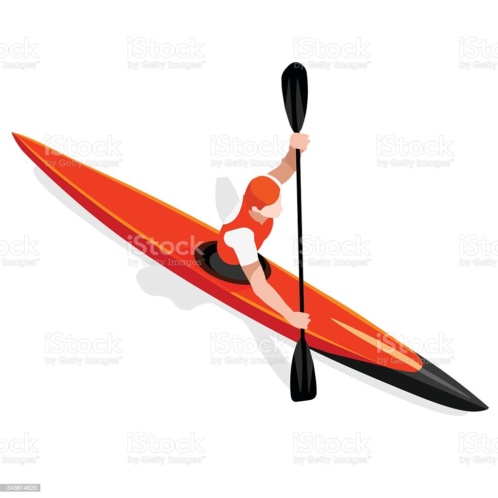 Kayak Sprint  Sports Isometric 3D Vector Illustration vector art illustration