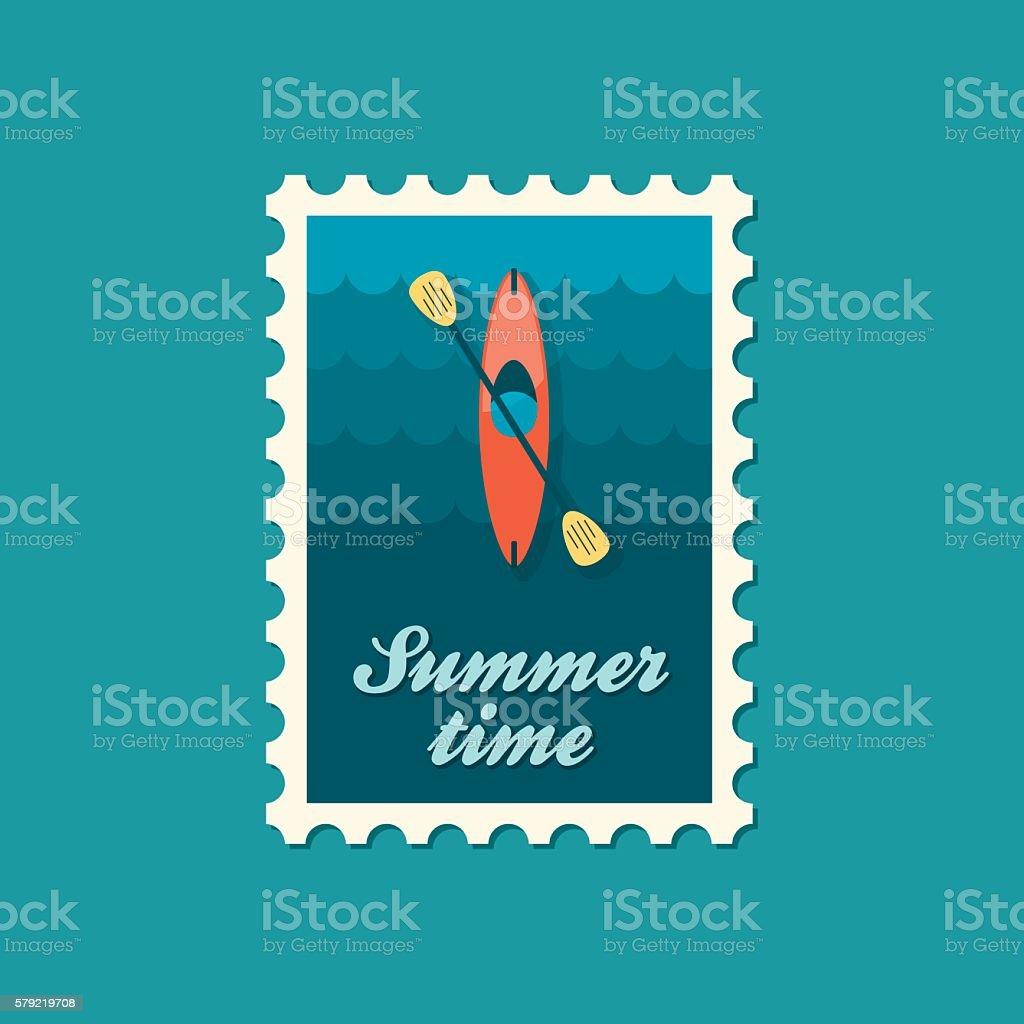 Kayak stamp. Canoe vector. Summer. Vacation vector art illustration