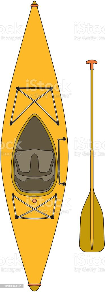 Kayak With Paddle vector art illustration