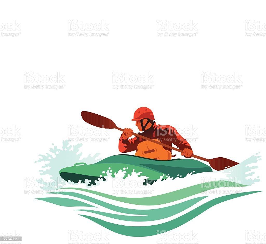 Kayaker Battles Treacherous White Water vector art illustration
