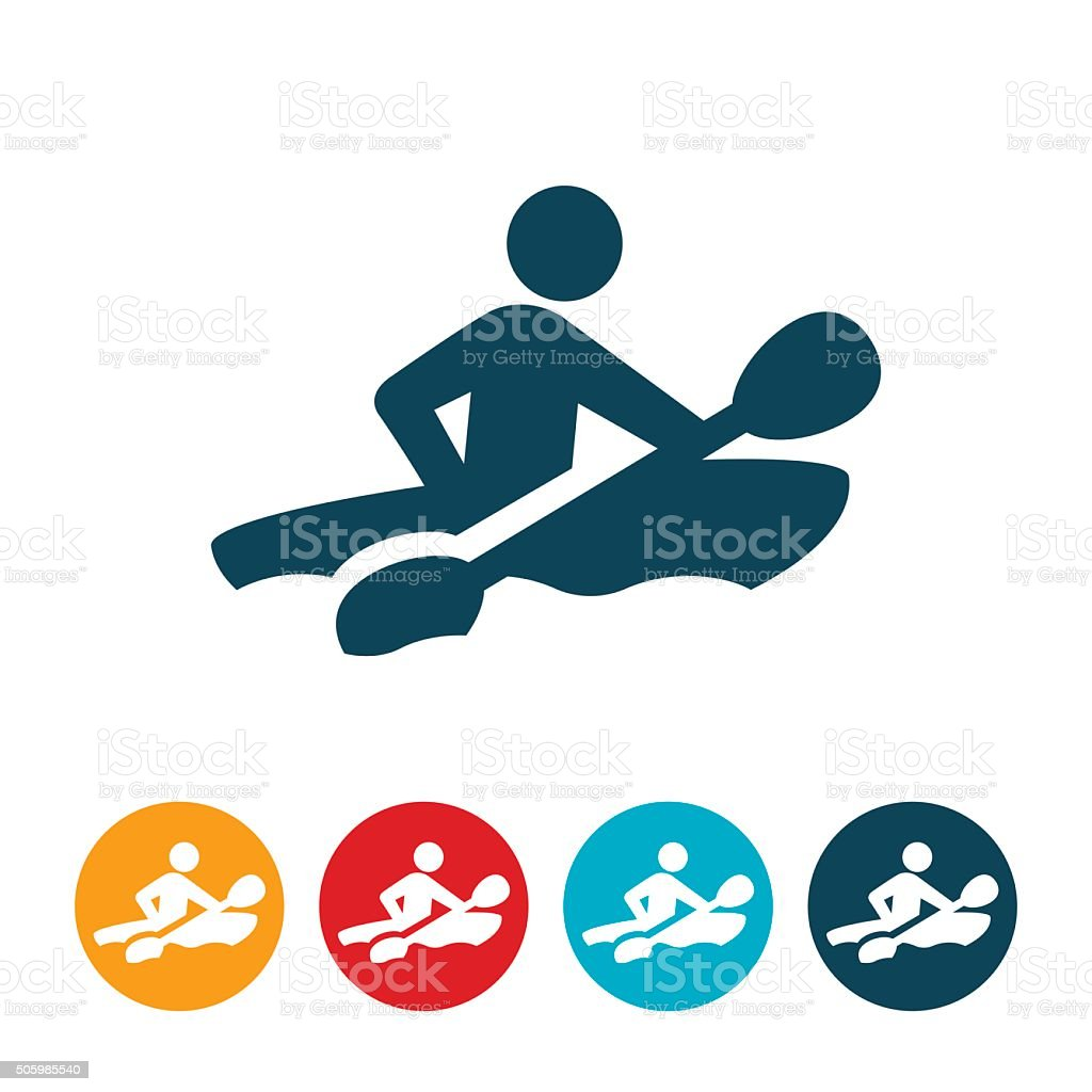 Kayaker Icon vector art illustration