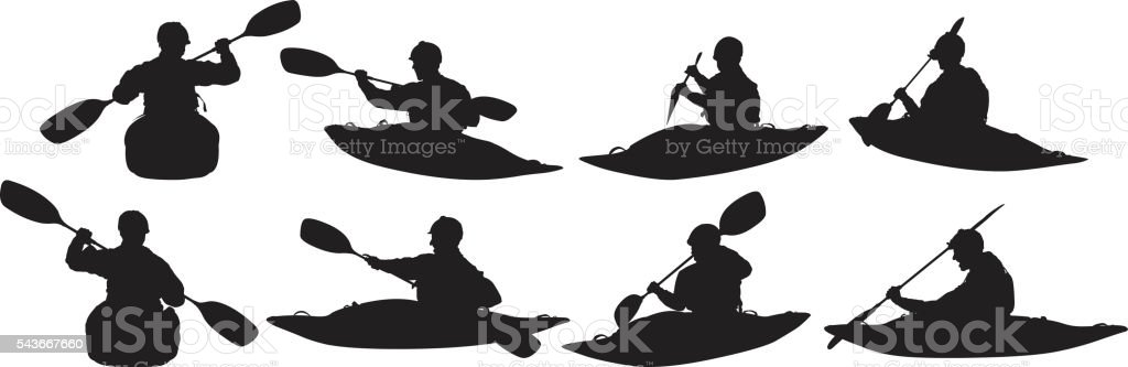 Kayaker kayaking vector art illustration