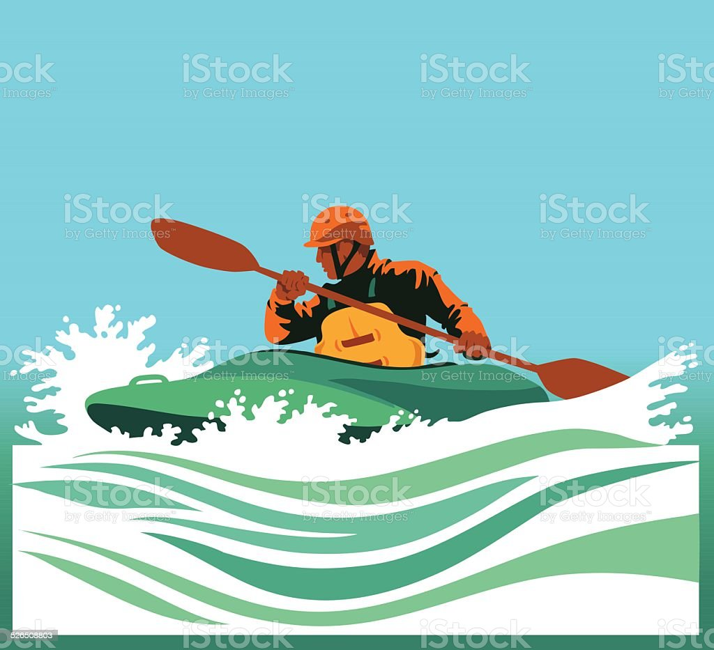 Kayaker Paddling in White Waters vector art illustration