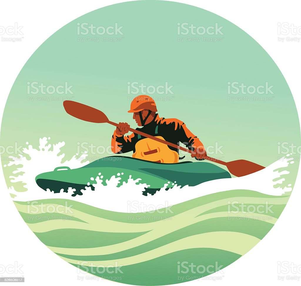 Kayaker Paddling Powerfully Through White Waters vector art illustration