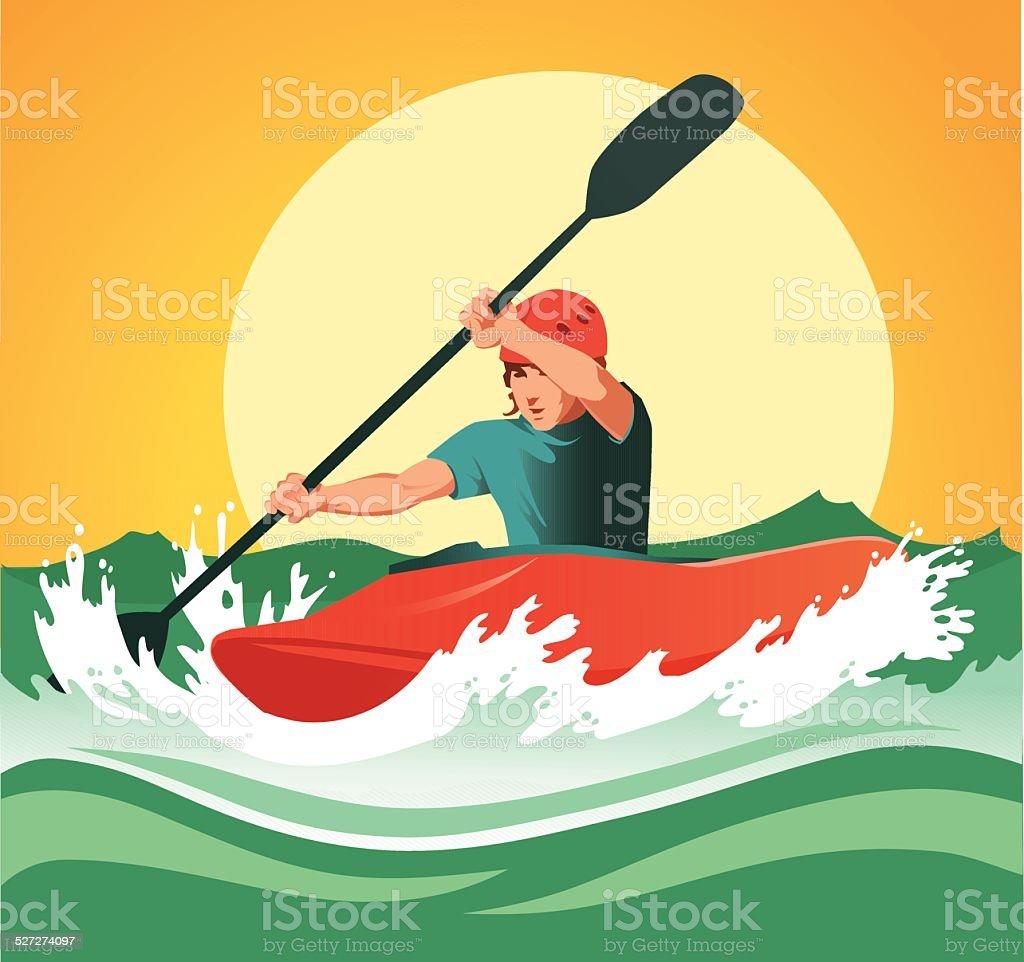 Kayaker Paddling Through Dangerous White Waters vector art illustration