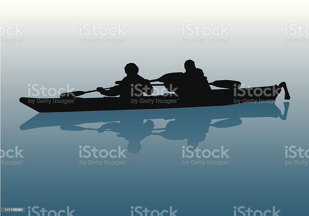 Kayakers Silhouette royalty-free stock vector art