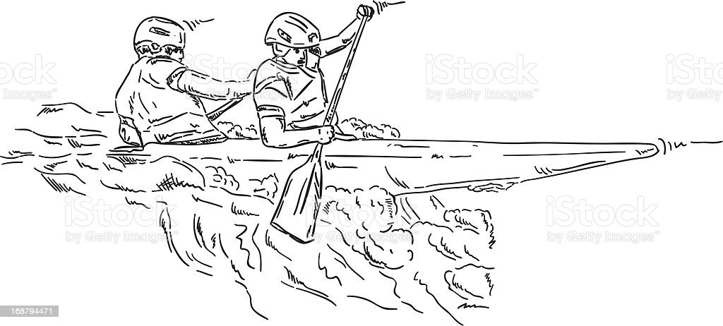kayakers royalty-free stock vector art
