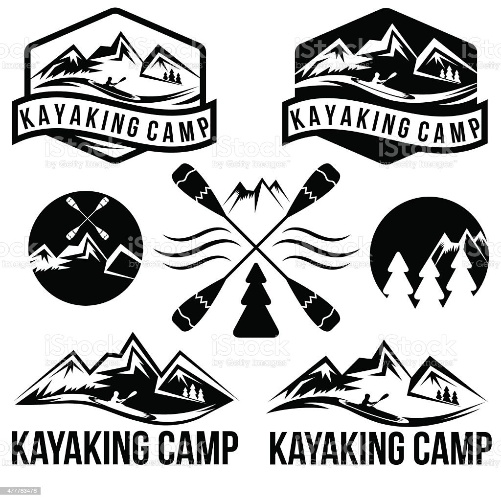 kayaking camp vintage labels set vector art illustration