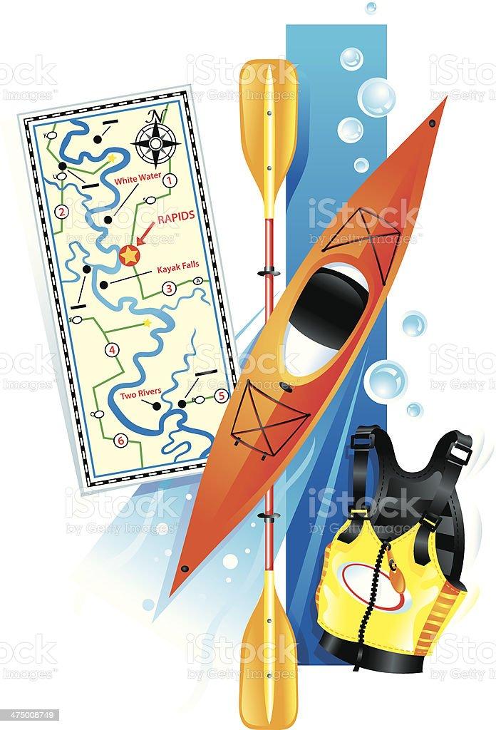 Kayaking Equipment vector art illustration