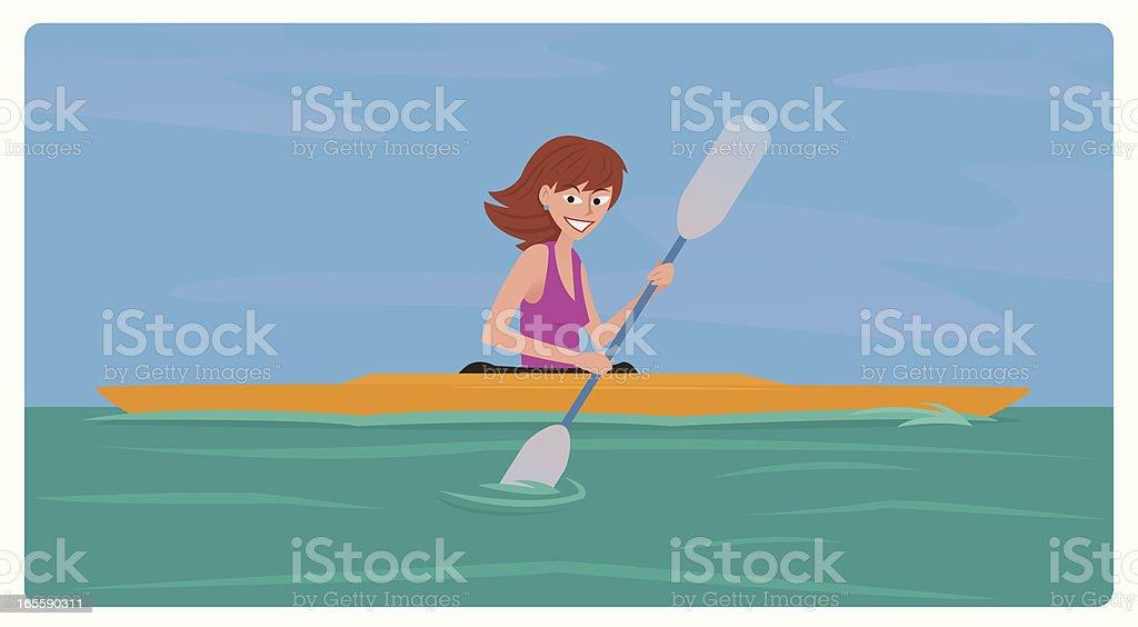 Kayaking Girl vector art illustration