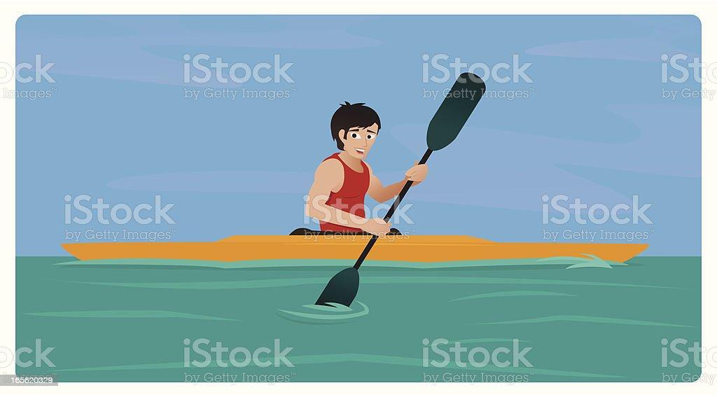 Kayaking Guy royalty-free stock vector art