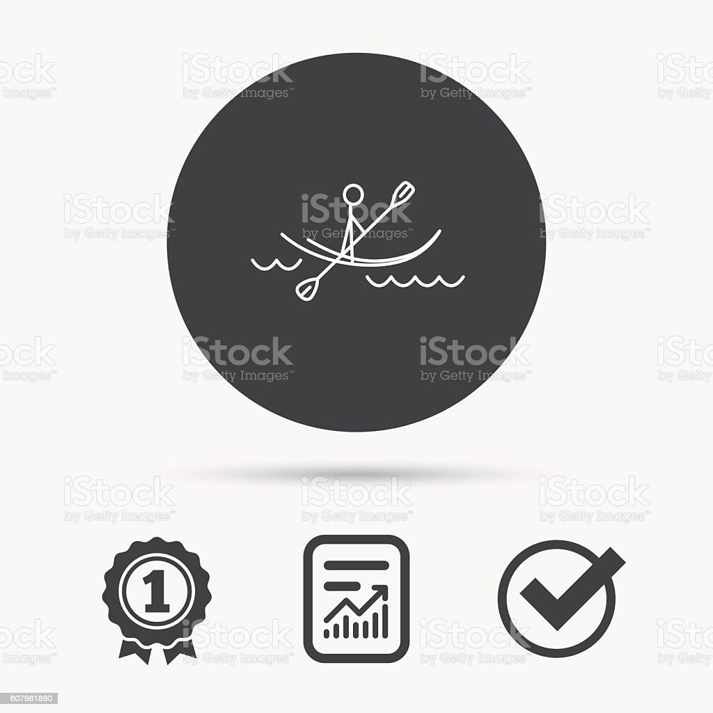 Kayaking on waves icon. Rafting or canoeing. vector art illustration