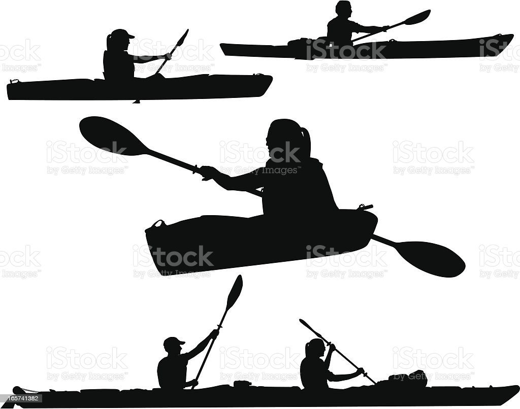 Kayaking Silhouettes vector art illustration
