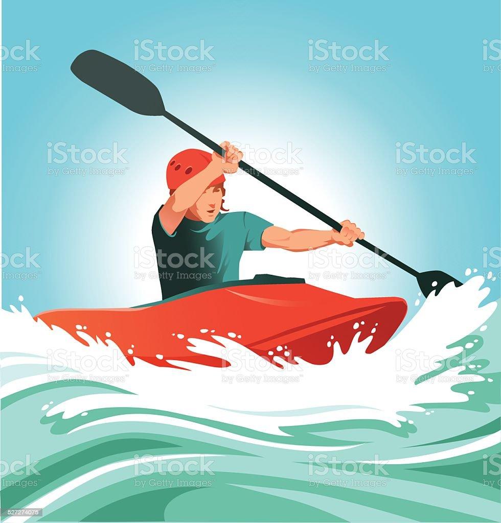 Kayaking Through Dangerous River Rapids vector art illustration
