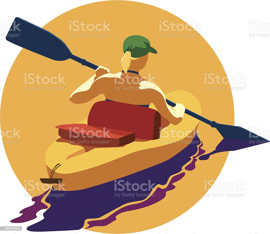 Kayaking royalty-free stock vector art