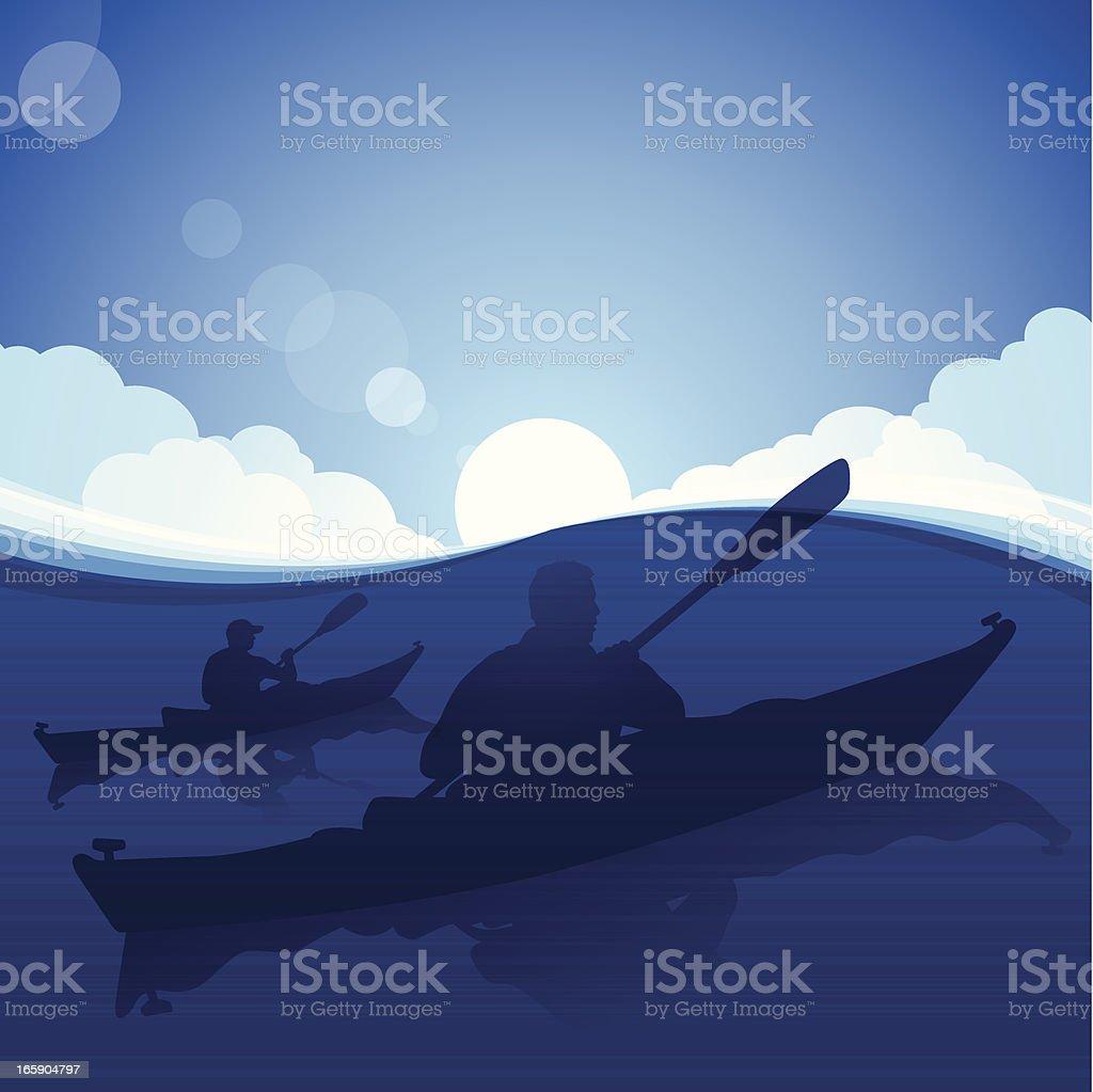 Kayaking royalty-free stock vector art