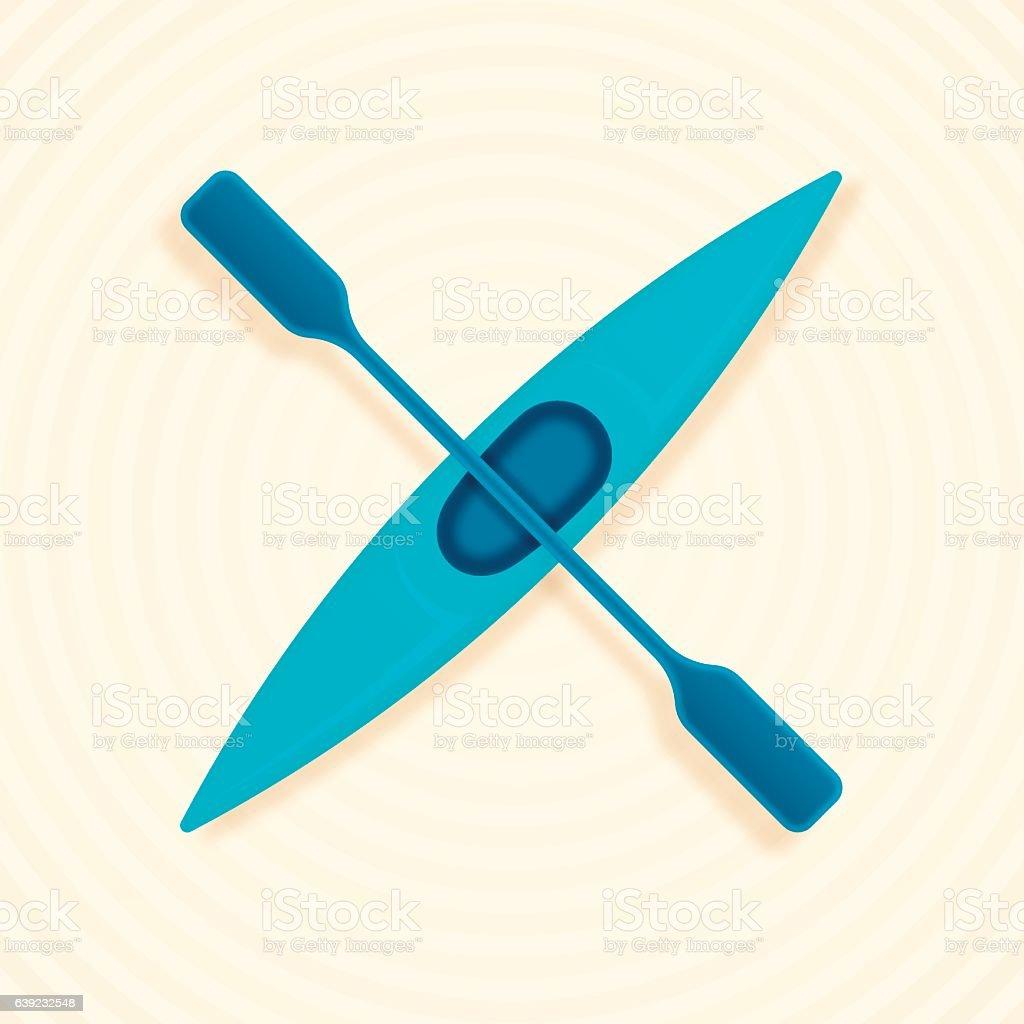 Kayaking vector art illustration