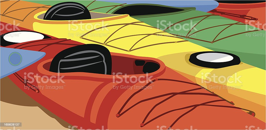 Kayaks Beached royalty-free stock vector art