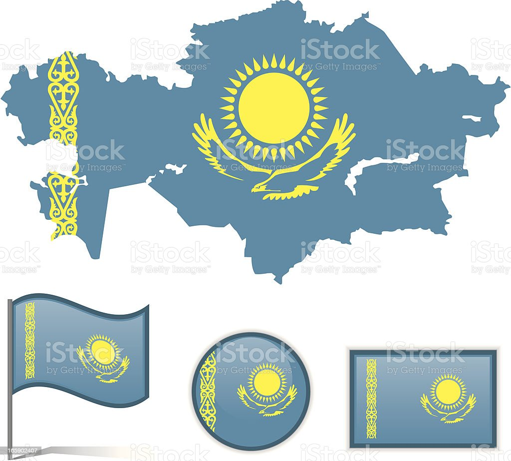 Kazakhstan map & flag royalty-free stock vector art