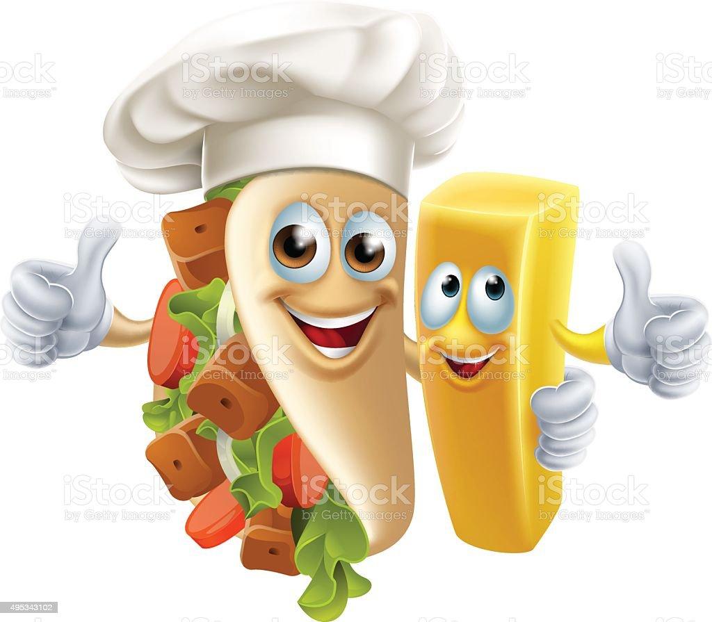Kebab and Chip Friends vector art illustration