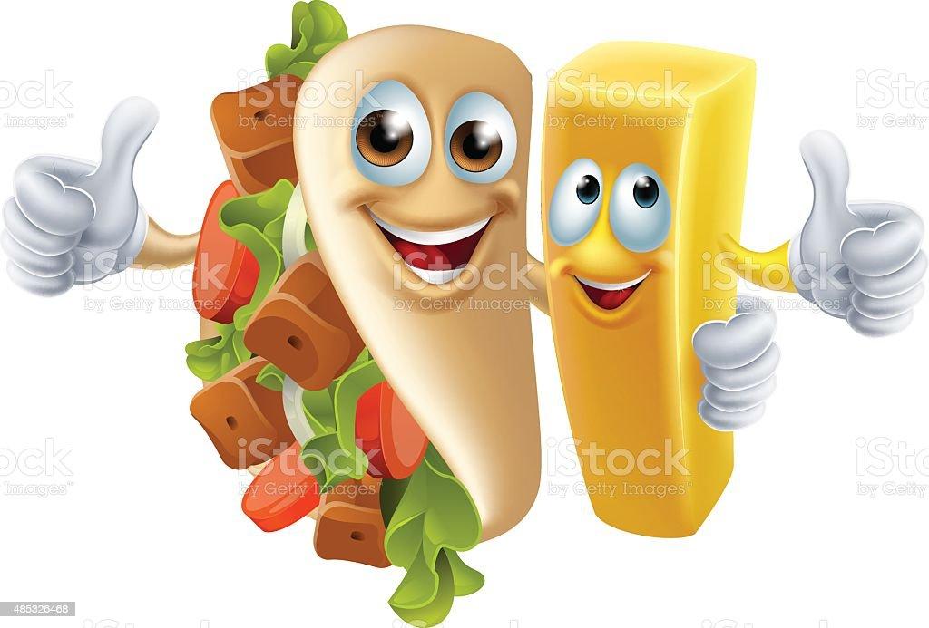 Kebab and Chip Mascots vector art illustration