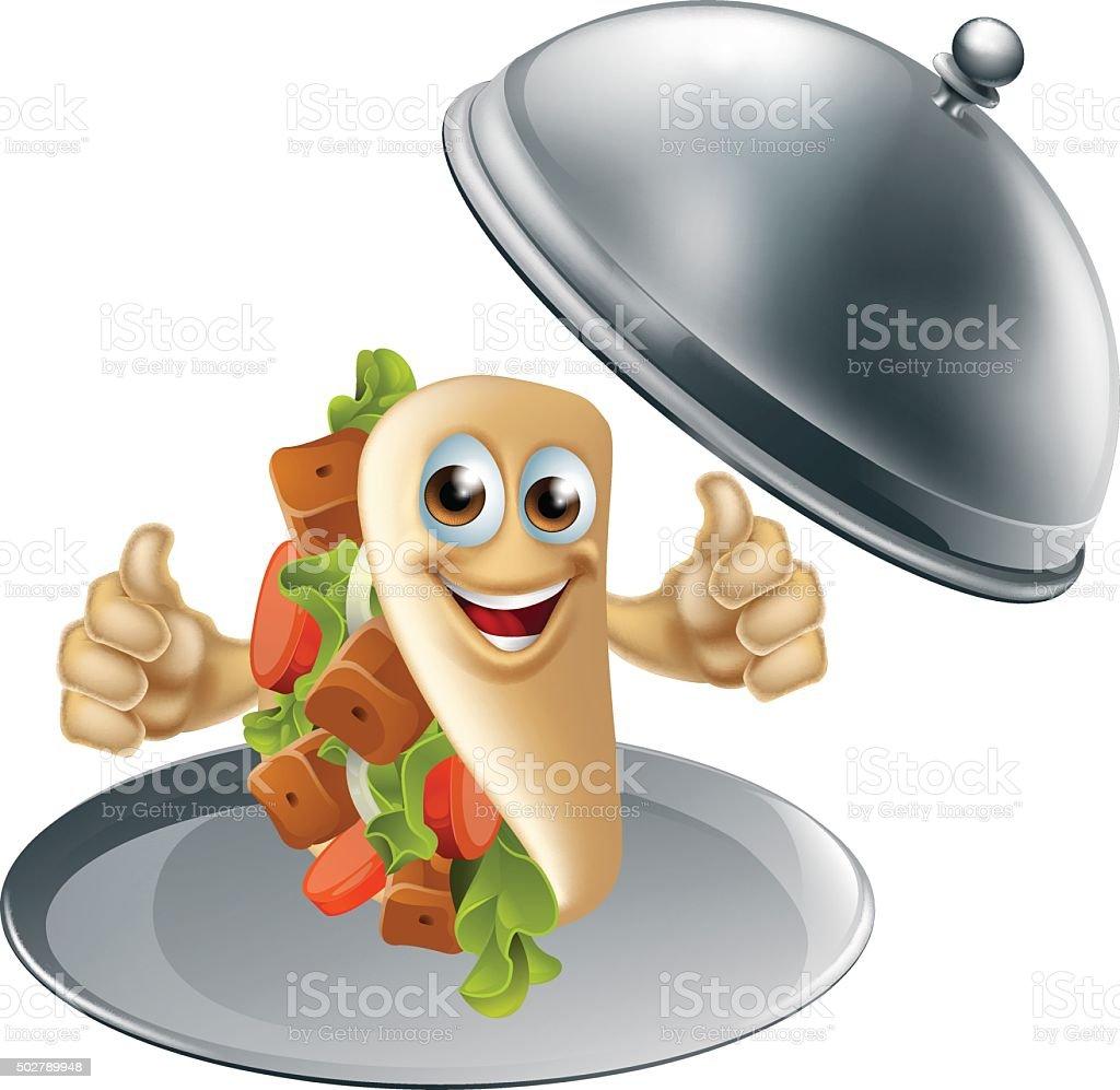 Kebab Character on Serving Dish vector art illustration