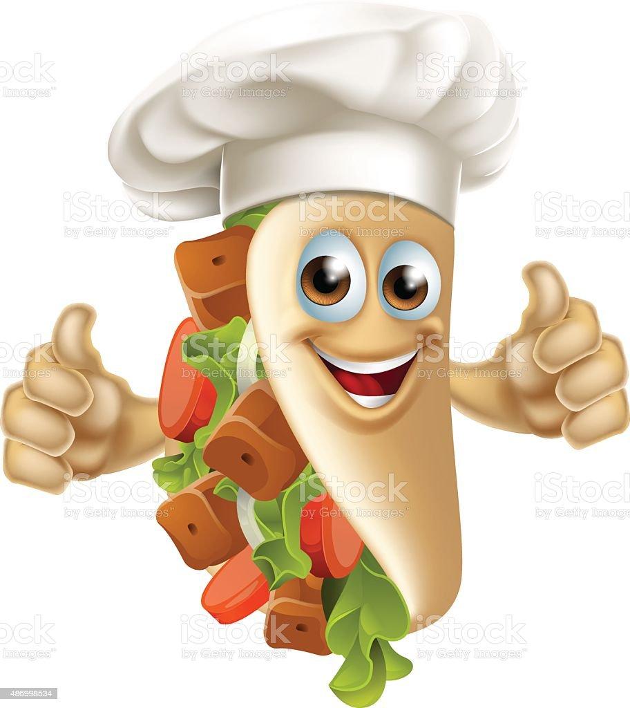 Kebab Chef Man vector art illustration