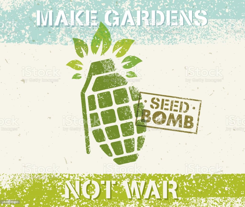 Keep Calm And Do Seed Bombs. City Gardening Activity Vector Eco Poster Concept. vector art illustration