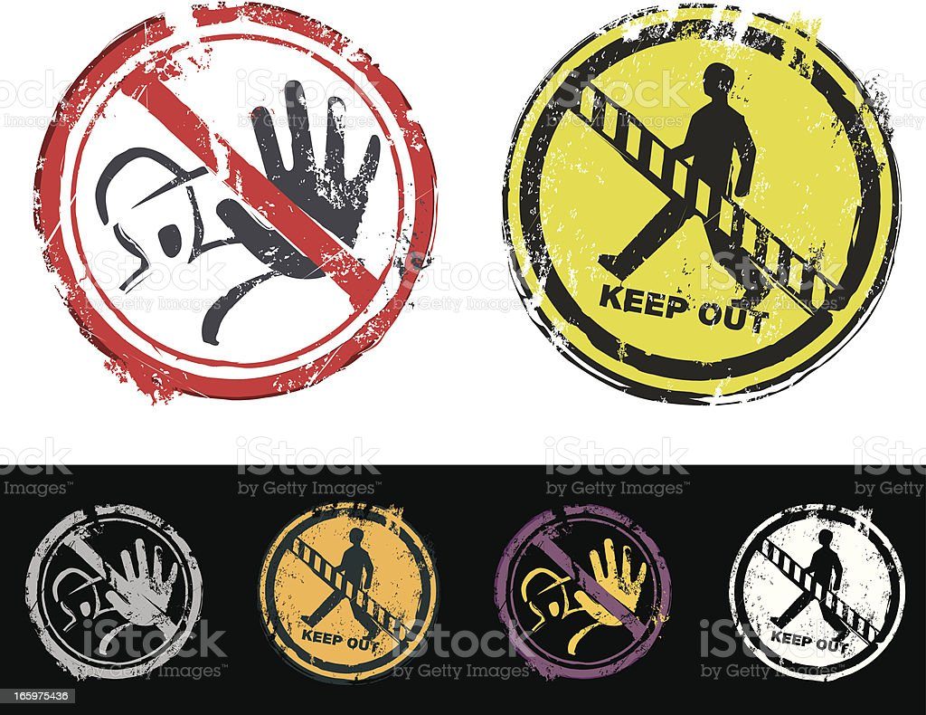Keep out and do not enter rubber stamp royalty-free stock vector art