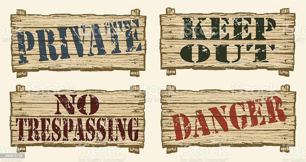 Keep Out, Danger, Private, No Trespassing, restricted area sign vector art illustration