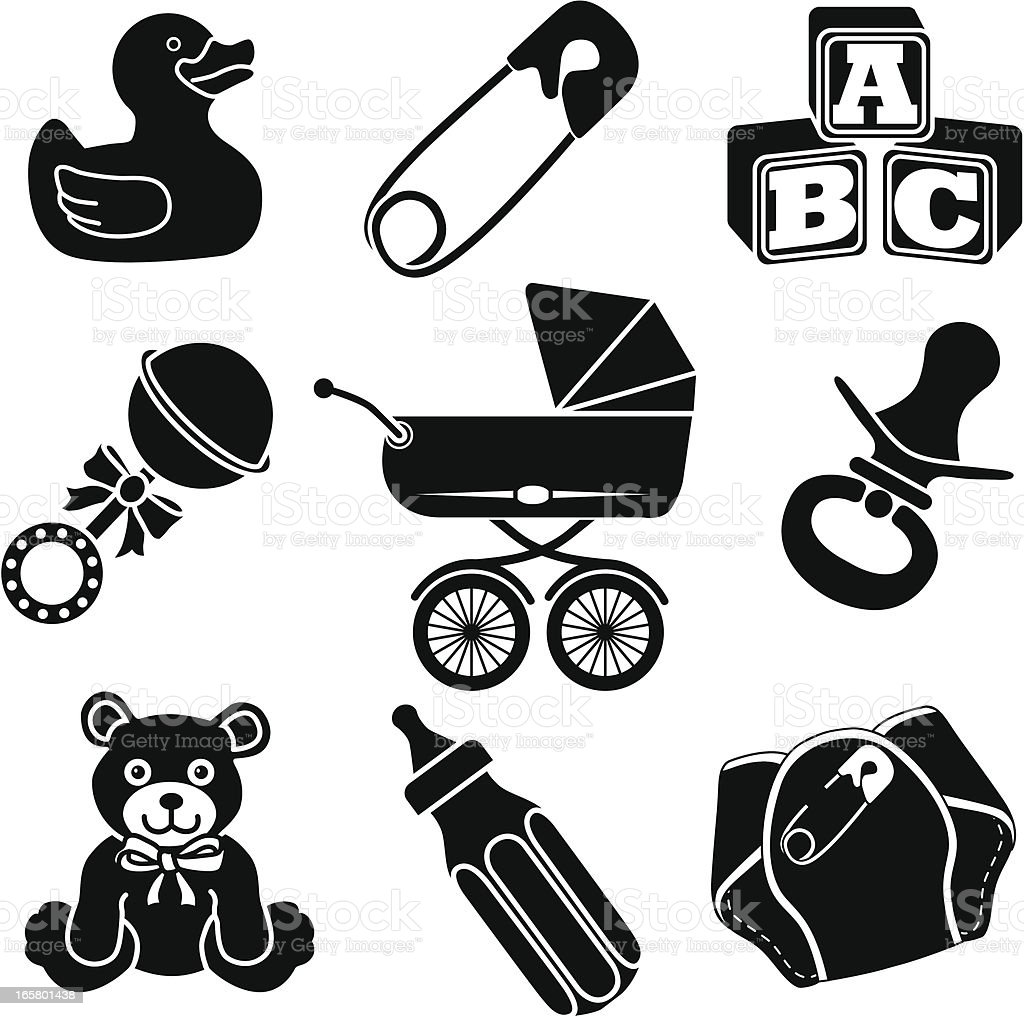 keeping baby happy icons vector art illustration
