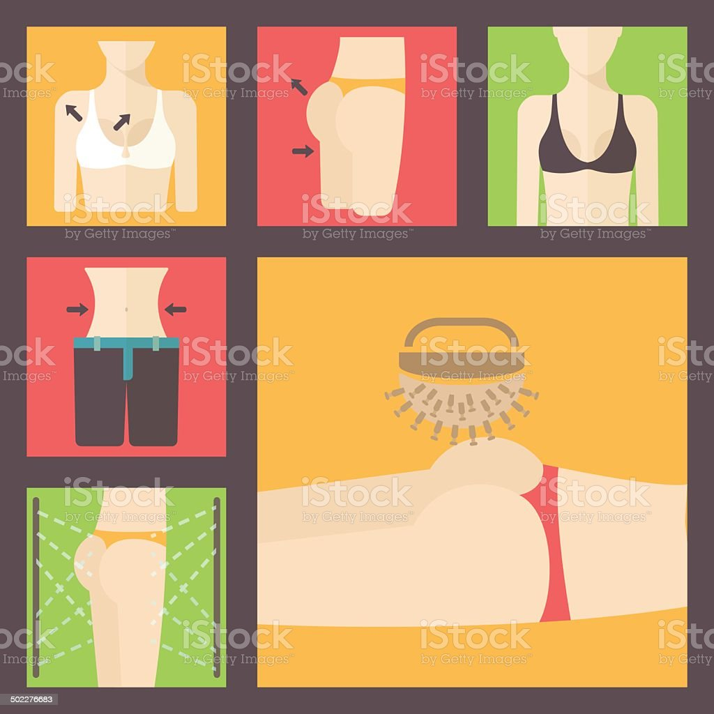 Keeping fit, weight loss, plastic surgery set. Perfect body illustration. vector art illustration